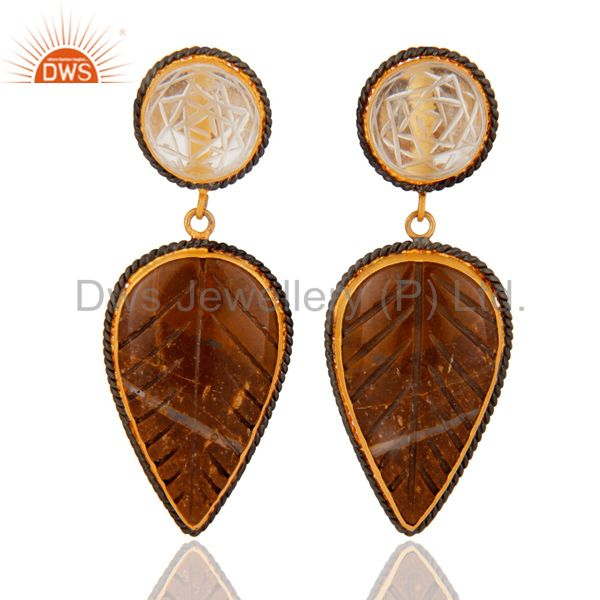 Gold Plated 925 Sterling Silver Carved Agate Gemstone & Crystal Carving Earrings