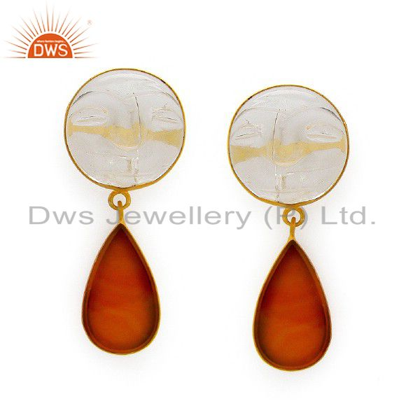 18K Gold Plated Sterling Silver Red Onyx And Crystal Quartz Carving Earrings