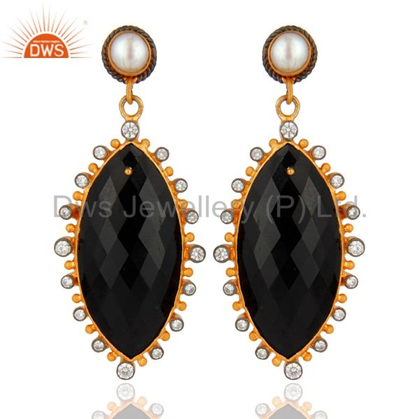 Natural Black Onyx Gemstone Gold Plated 925 Sterling Silver CZ Dangle Earrings