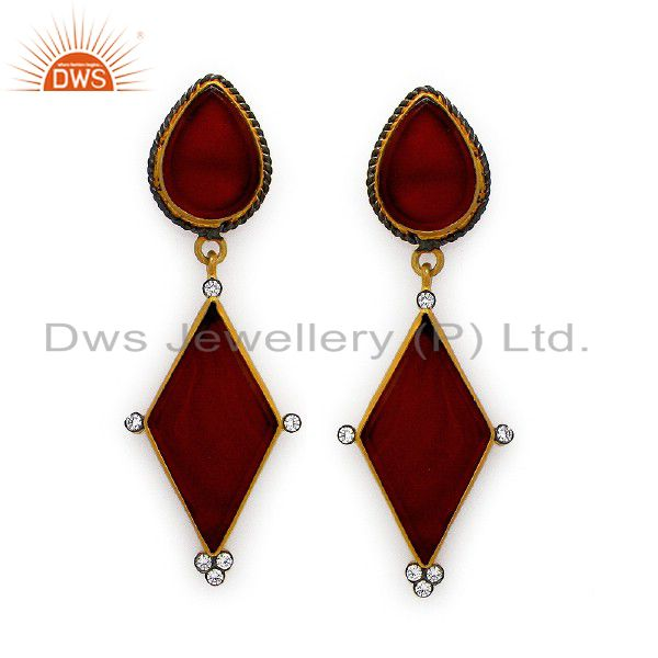 18K Yellow Gold Plated Sterling Silver Red Onyx Dangle Earrings With CZ