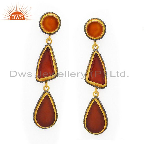 22K Matte Yellow Gold Plated Sterling Silver Red Onyx Designer Dangle Earrings
