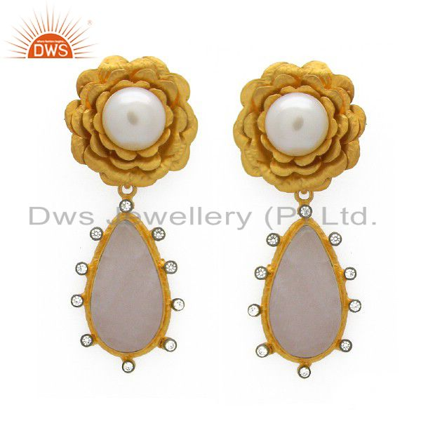 22K Yellow Gold Plated Sterling Silver Rose Quartz And Pearl Dangle Earrings