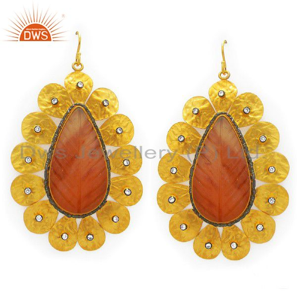 22K Yellow Gold Plated Sterling Silver Carved Red Jade And CZ Dangle Earrings