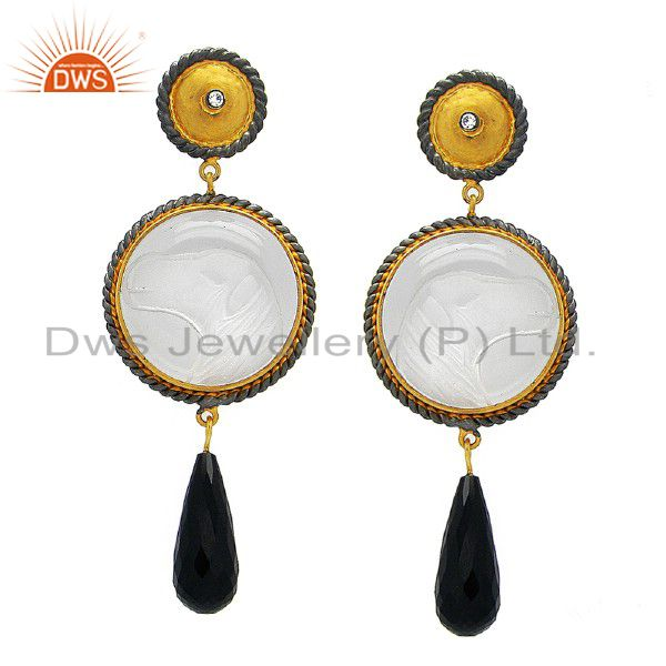 18K Gold Plated Sterling Silver Crystal Quartz Carving And Black Onyx Earrings