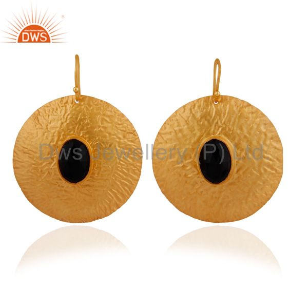 Natural Black Onyx Gemstone Dangle Earring In Sterling Silver With 18k Gold Plat