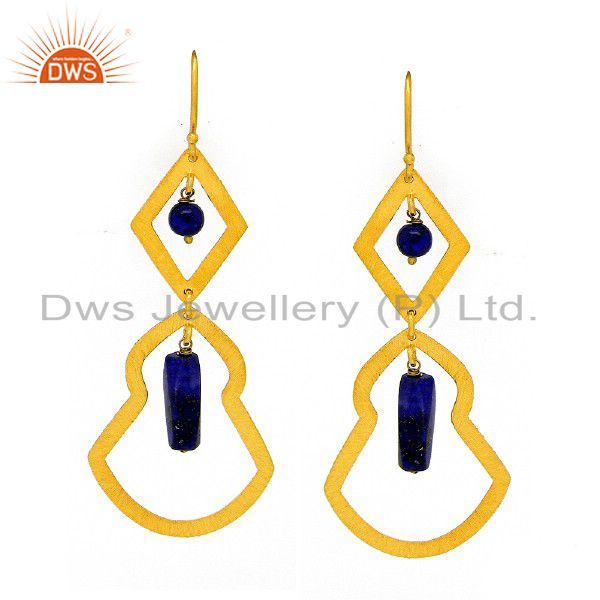 Brushed 22K Yellow Gold Plated Sterling Silver Lapis Lazuli Dangle Earrings