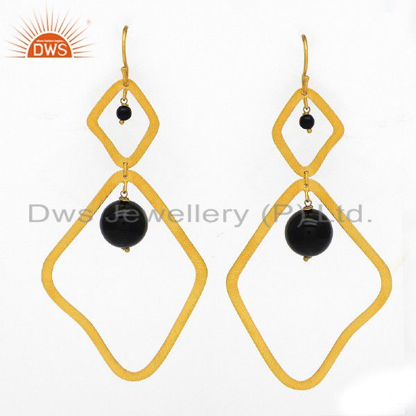 18K Yellow Gold Plated Sterling Silver Black Onyx Beads Dangle Earrings
