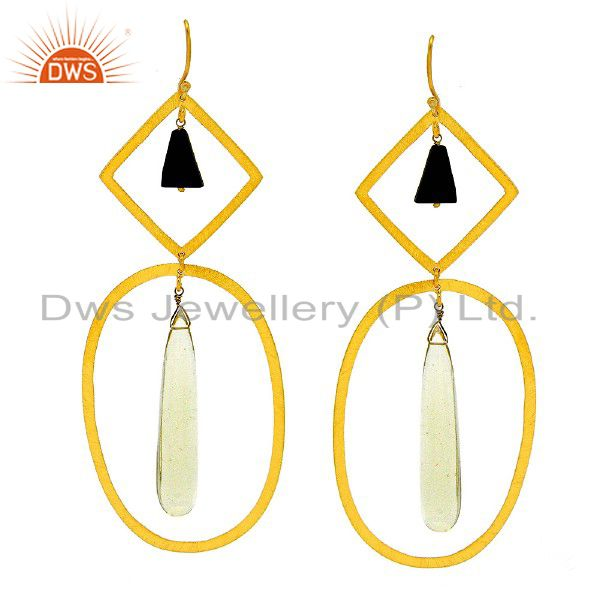 22K Yellow Gold Plated Sterling Silver Lemon Topaz And Black Onyx Dangle Earring
