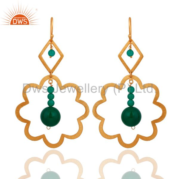 Handmade 925 Sterling Silver Genuine Green Onyx Beads 22k Gold Plated Earrings