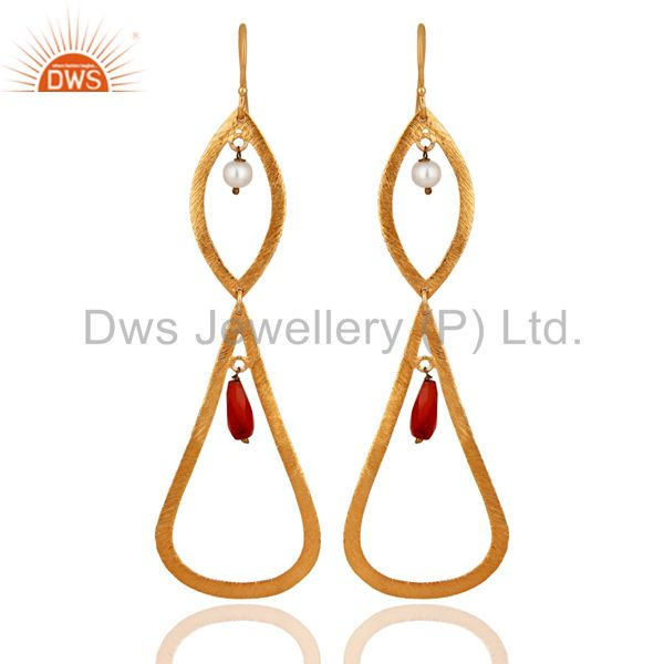 18K Yellow Gold Plated 925 Sterling Silver Red Carnelian & Pearl Dangle Earring