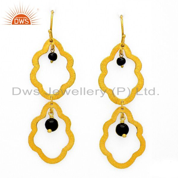 Brushed Finish 18K Yellow Gold Plated Sterling Silver Black Onyx Dangle Earrings