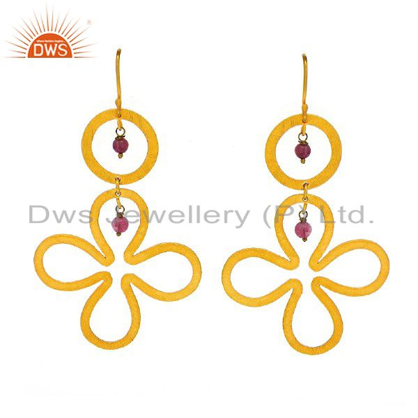 Handmade Sterling Silver With 18K Yellow Gold Plated Tourmaline Floral Earrings