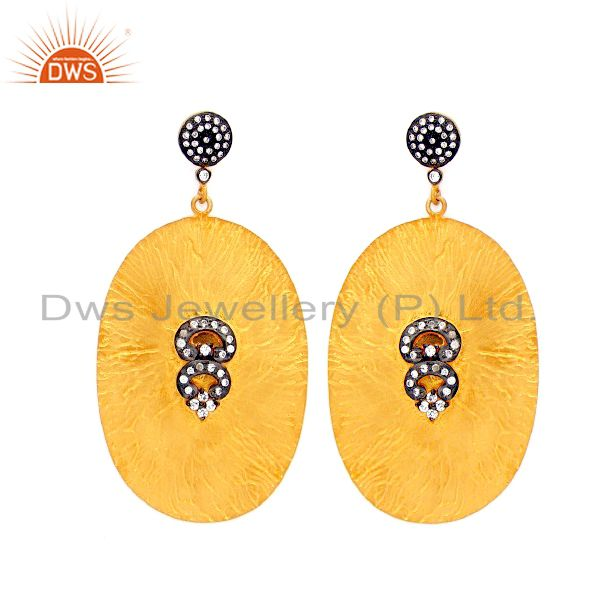 18K Yellow Gold Plated Sterling Silver Cubic Zirconia Womens Fashion Earrings