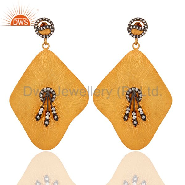 White Cubic Zirconia Yellow Gold Plated 925 Sterling Silver Dangle Earrings