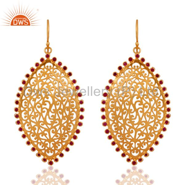 Unique Filigree 24k Gold Plated over 925 Sterling Silver Ruby Designer Earrings