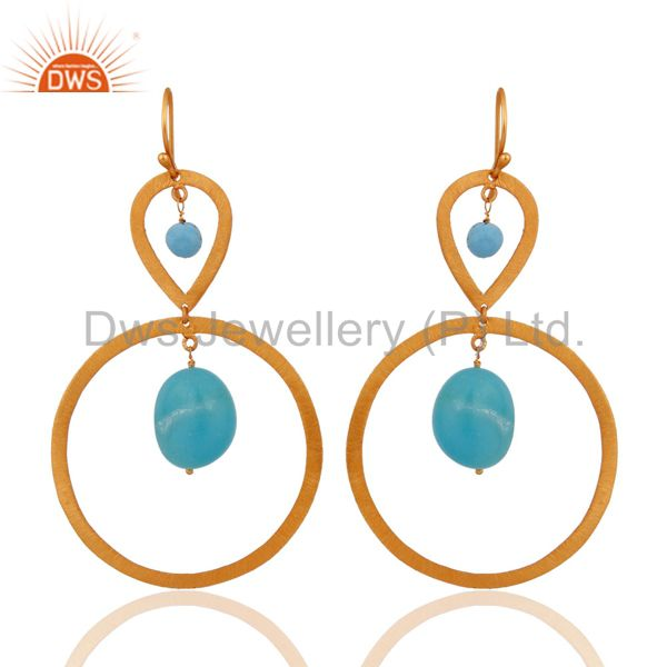 24k Gold Plated 925 Sterling Silver Turquoise Gemstone Beads Circle Earrings