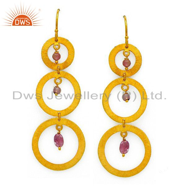 22K Yellow Gold Plated Sterling Silver Pink Tourmaline Circle Dangle Earrings