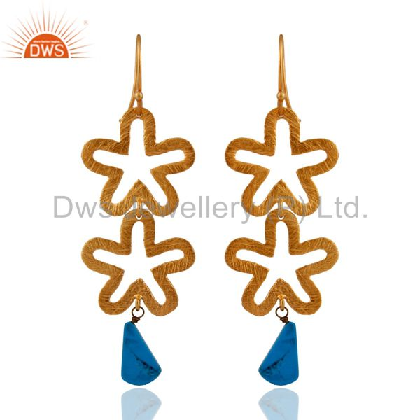 Natural Turquoise Gemstone Sterling Silver Satin Finish 24k Gold Plated Earring
