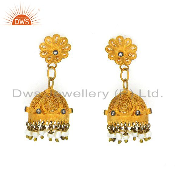 22K Yellow Gold Plated Sterling Silver Pearl And Cubic Zirconia Jhumka Earrings