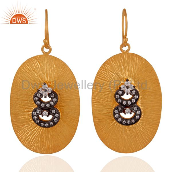 24k Gold Plated On Sterling SIlver Textured Finish White Zircon Dangle Earrings