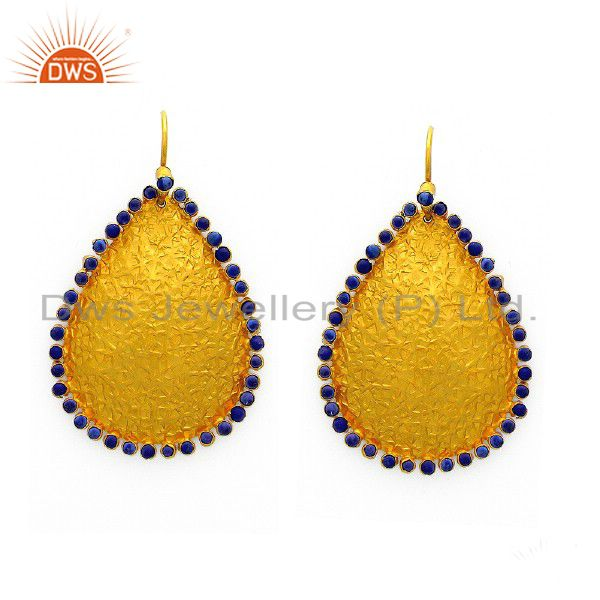 22K Yellow Gold Plated Sterling Silver Cubic Zirconia Hammered Teardrop Earrings