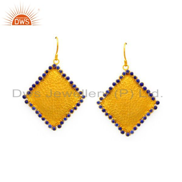 24K Yellow Gold Plated Sterling Silver Lapis Lazuli Gemstone Dangle Earrings