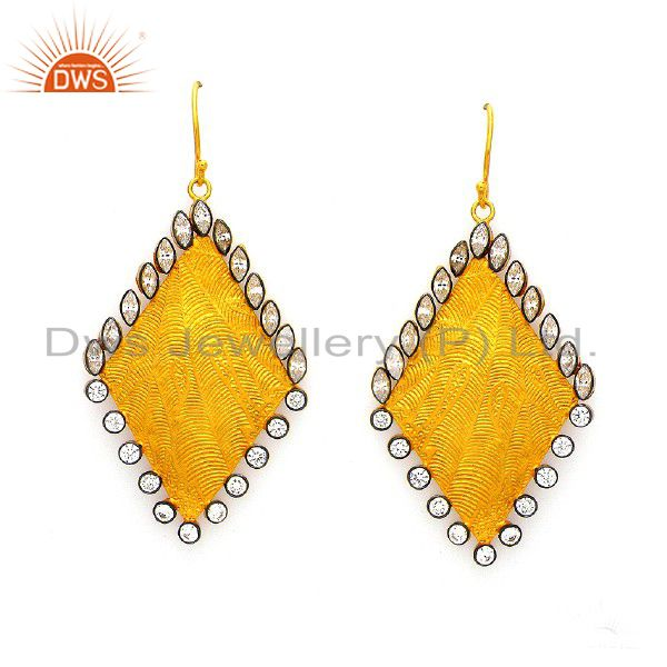 24K Yellow Gold Plated Sterling Silver Cubic Zirconia Textured Designer Earrings