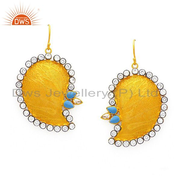 24K Yellow Gold Plated Solid Silver Turquoise And CZ Designer Dangle Earrings