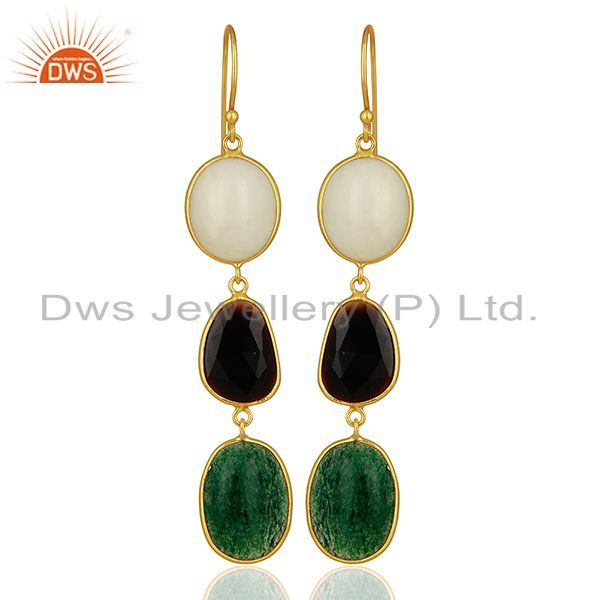 18K Yellow Gold Plated Sterling Silver Green Jade And Black Onyx Dangle Earrings