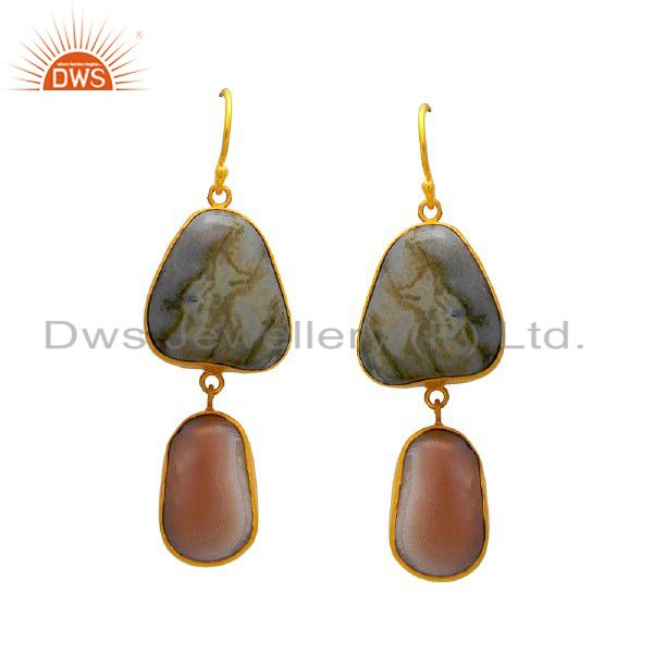 18K Yellow Gold Plated Sterling Silver White Agate Gemstone Bezel Dangle Earring