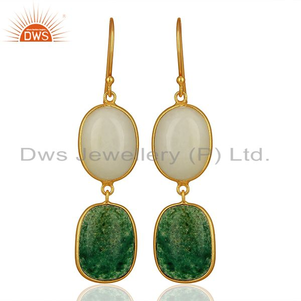 18K Gold Plated Sterling Silver White Agate And Green Jade Dangle Earrings