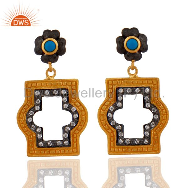 Hammered 925 Sterling SIlver Gold Plated CZ Turquoise Designer Dangle Earrings