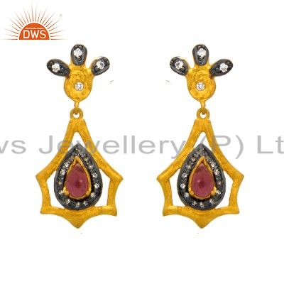 18K Yellow Gold Plated Sterling Silver Pink Tourmaline & CZ Dangle Earrings