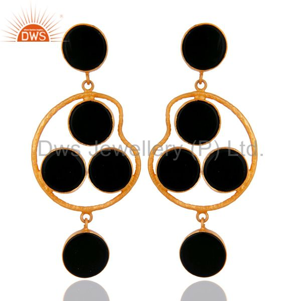Handmade 925 Sterling Silver Black Onyx Gemstone Earrings With 18K Gold Plated