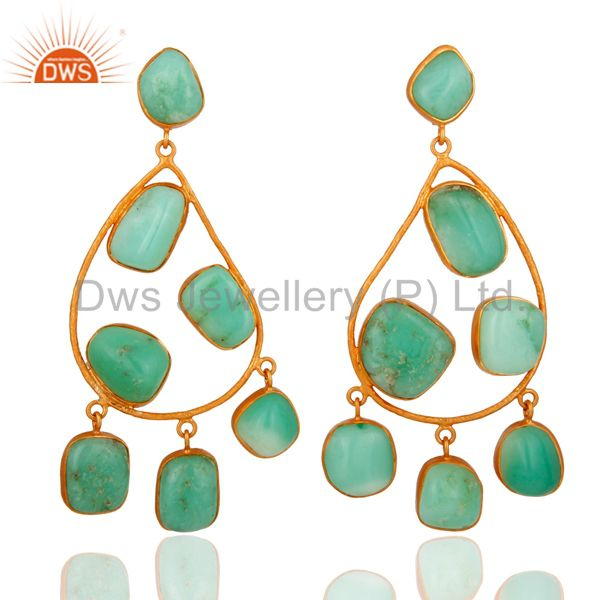 Handmade Sterling Silver Gold Plated Chrysoprase Gemstone Chandelier Earrings