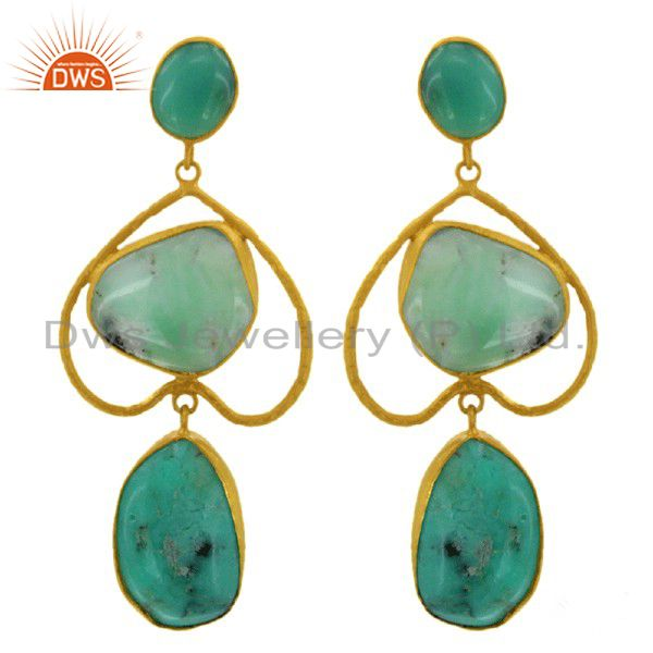 Handmade Chrysoprase Gemstone Earrings Made In 18K Gold Plated Sterling Silver