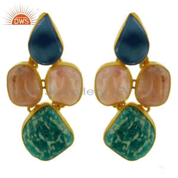Handmade Blue Onyx And Aventurine Dangle Earrings In 18K Gold Over Silver