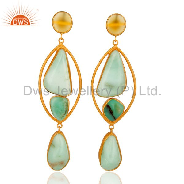 Handmade Chrysoprase Gemstone Earrings In 18K Gold Over Sterling Silver