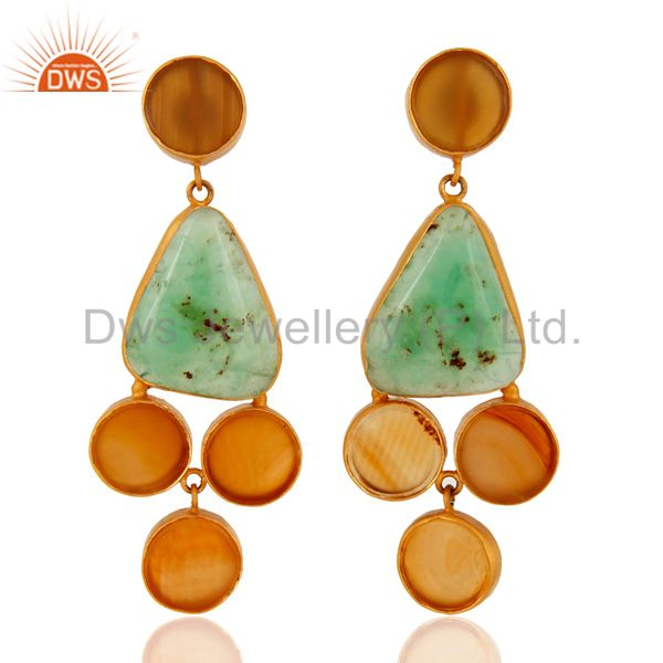 Handmade Sterling Silver Gemstone Chrysoprase & Yellow Onyx 18K Plated Earrings