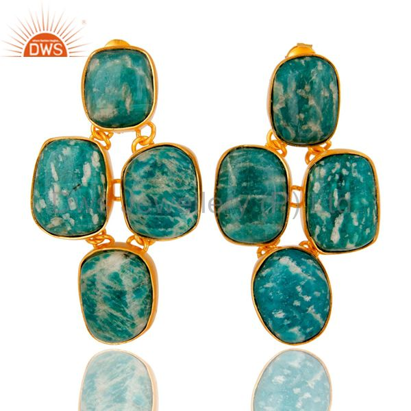 Handmade Amanzonite Gemstone Earrings Made In 18K Gold Plated Sterling Silver