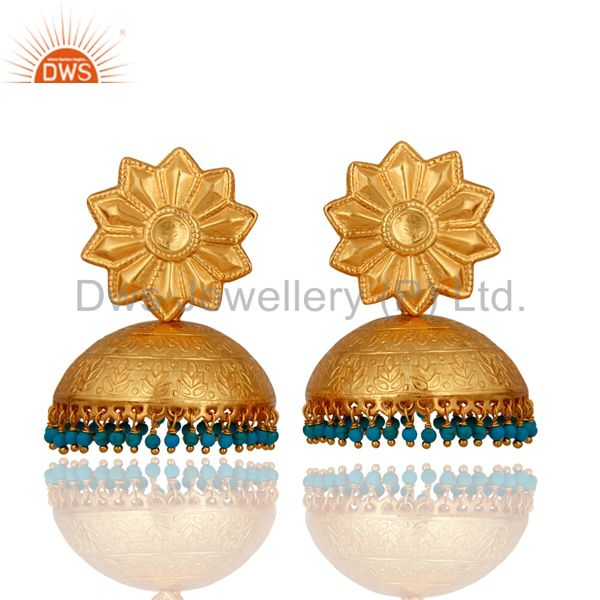 22K Gold Plated Silver Turquoise South Indian Fashion Traditional Jhumka Earring
