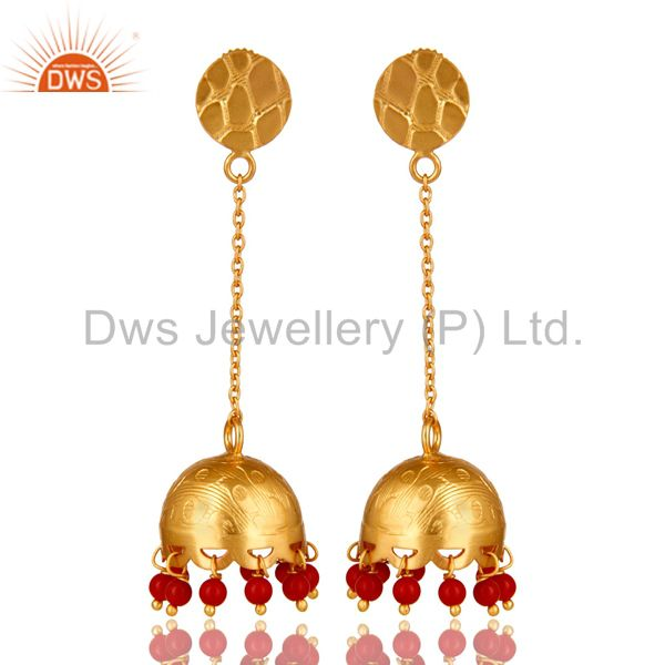 Handmade 925 Sterling Silver 18K Gold Plated Red Coral Indian Jhumka Earrings