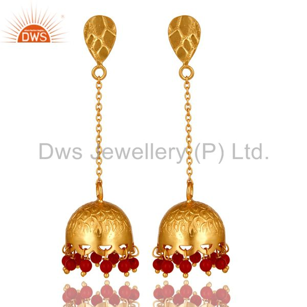 Designer Red Coral Gemstone 22K Gold Over 925 Silver Indian Style Jhumka Earring