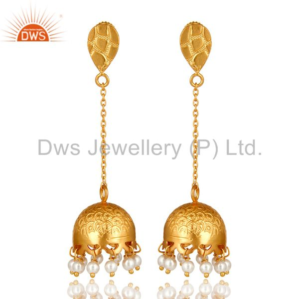 Genuine Pearl 925 Sterling Silver 22k Yellow Gold Plated Women Fashion Earrings