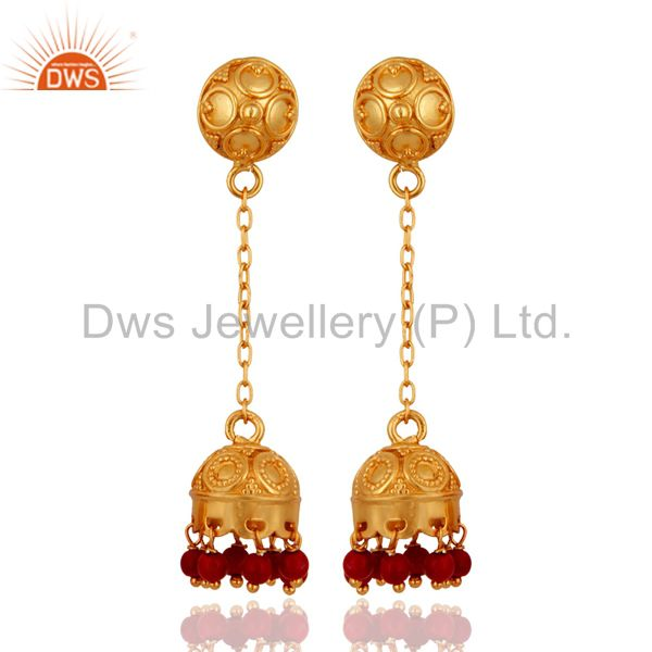 Natural Red Coral 18K Gold On 925 Sterling Silver Indian Jewelry Jhumka Earrings