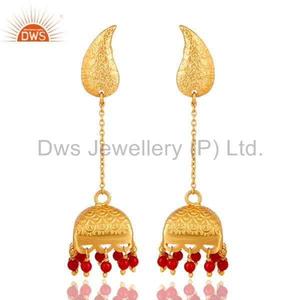 22K Gold Plated 925 Sterling Silver Handmade Red Coral Jhumka Earrings Jewerly