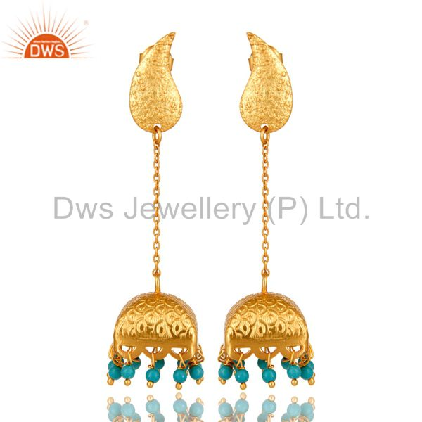 22k Gold Plated 925 Sterling Silver Natural Turquoise Bridal Dangle Earrings