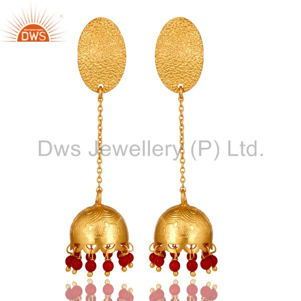 24k Gold Plated 925 Sterling Silver Traditional Coral Gemstone Jhumka Earrings