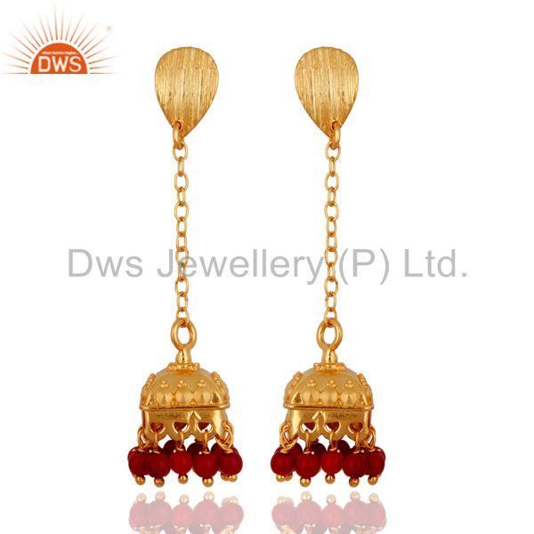 Gold Plated Sterling Silver Coral Bollywood Indian Style Drop Bridal Earrings