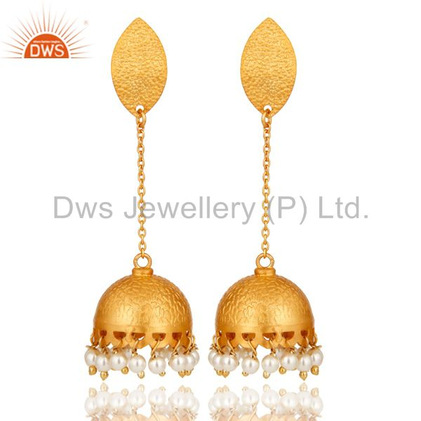 22k Gold Over 925 Sterling Silver Natural Pearl Indian Bridal Dangle Earrings